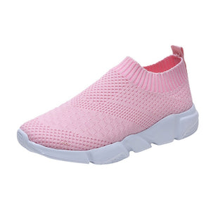 Women Mesh Shoes Sneakers Girls Outdoor Casual Slip On Comfortable Soles Running Sports Shoes Flat with Soft Flat Shoes