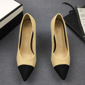 2018 Superstar Pointed Toe Pearl Pumps Mules Slingback High Heels Brand  Runway spell Color Wedding Party Women High Heels 9 cm