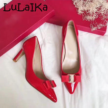 2018 New Brand Sexy Metal Buckle Pointed Toe Lady Pumps Elegant Bow Comfortable Woman Party Wedding High Heel Shoes 7cm