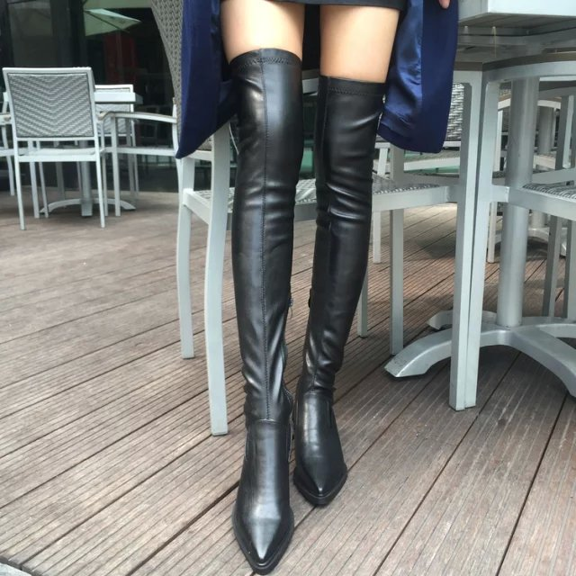 2018 New Shoes Women Boots Black Over the Knee Boots Sexy Female Autumn Winter lady Thigh High Boots