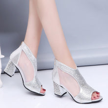 Women Sandals Bling 7cm High Heels Diamond Summer Square Heel Women Shoes Wedding Shoes Leather Summer Slides Sandalia Mujer