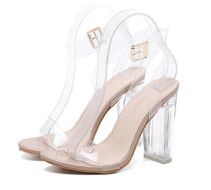 Eilyken 2019 New PVC Women Sandals Sexy Clear Transparent Ankle Strap High Heels Party Sandals Women Shoes Size 35-42