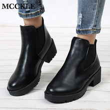 MCCKLE Women Ankle Boots Platform Elastic Band Chunky Heel Shoes Female Slip On Short Boot Spring Mid Heels Shoe For Ladies