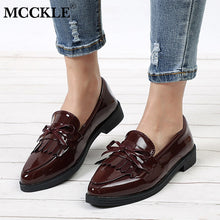 MCCKLE Women Low Heels Fashion Bowtie Platform Female Spring Shoes Fringe Chunky Heel Flat Shoe Casual Footwear Oxford Shoes