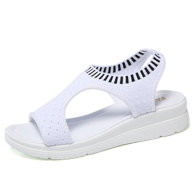 STQ women sandals 2019 new female shoes women summer wedge comfort sandals ladies flat slingback sandals women sandalias QS808