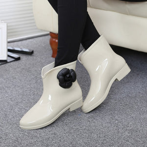 Women Spring Rain Boots Rubber Boots Flower Bowtie 2019 Ankle Boot Female Waterproof Solid Shoes Baby Rain Shoe Ladies Casual