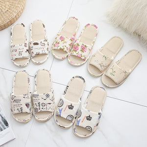 Women's home slippers 2018 rural style spring and autumn linen lovers four seasons slippers indoor home slippers