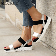 MCCKLE Women Sandals Slip On Elastic Band Peep Toe Female Summer Shoes Platform Flat Roman Sandals Ladies Comfortable Footwear