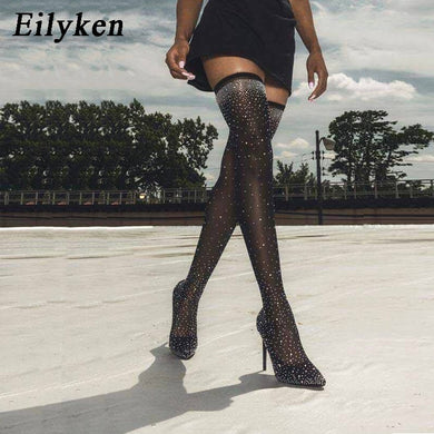 Eilyken 2019 Fashion Runway Crystal Stretch Fabric Sock Boots Pointy Toe Over-the-Knee Heel Thigh High Pointed Toe Woman Boot