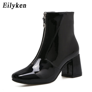 Eilyken Autumn Fashion Chelsea Boots 2019 New Dropshipp Low Heel Boots Zipper Women Round Toe Square heel Patent Leather Boots