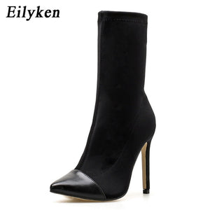 Eilyken 2019 New Arriva Stretch Fabric Women Ankle Boots Pointed Toe High Heels Slip-On Sexy Sock heels Chelsea Boots size35- 42