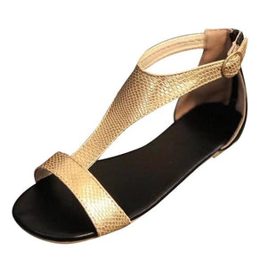 Women Soft Leather Gladiator Sandals Women Casual Summer Shoes Female Buckle Flat Sandals Zip Plus Size 35-43 Beach Shoes #40