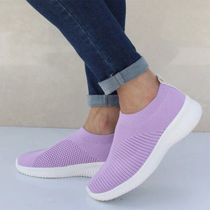 Plus Size Women Sneakers Stretch Fabric Flat Platform Knitting Sock Fashion Ladies Sport Shoes Female Casual Footwear Comfort