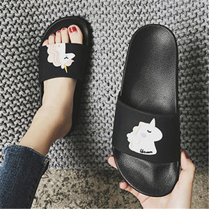 new slprs for women summer lovely Home Slippers Cartoon Chausson Licorne White Shoes Women unicorn slippers slides