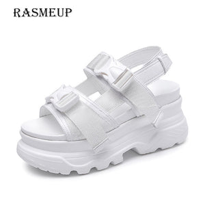 RASMEUP Platform Women's Sandals 2019 Fashion Summer Leather Buckle Women Thick Soled  Beach Sandal Casual Chunky Woman Shoes