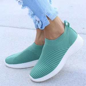 MCCKLE Women Plus Size Spring Sneakers Knitting Sock Female Vulcanized Shoes Casual Slip On Flat Shoe Mesh Soft Walking Footwear
