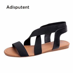 Adisputent Women Sandals Fashion Gladiator Sandals For Ladies Summer Shoes Female Flat Sandals Rome Style Cross Tied Shoes Women