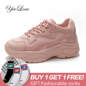 Women's Chunky Sneakers 2018 Fashion Basket Women Platform Shoes Lace Up Pink White Female Trainers Heel Dad Casual Shoes