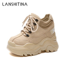2019 Spring High Platform Boots 12CM High Heel Women Thick Sole Shoes Leather Wedge Sneakers Waterproof Breathable Casual Shoes