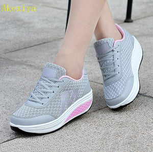 Akexiya 2019 Casual Women's Shoes Platform Flats Lady Beauty Sewing Fitness Shoe New Trendy Health Wedges Sneakers Size 35-40
