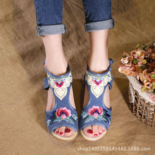 0034 women's shoes sandals wedges shoes fish mouth shoes retro national wind