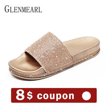 Fashion Women Slippers Crystal Flat Heel Summer Shoes Female Indoor Outside Bling Beach Slides Open Toe Rhinestone Ladies Shoe
