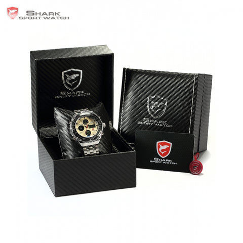 Luxury Leather Box SHARK Sport Watch
