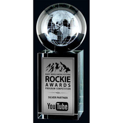 3D Laser Rise & Shine Optic Crystal Globe Award-D&G Trophies Inc.-D and G Trophies Inc.