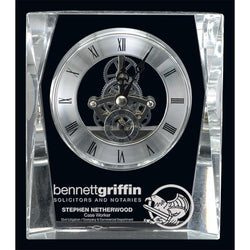 allegro clock optic crystal-D&G Trophies Inc.-D and G Trophies Inc.