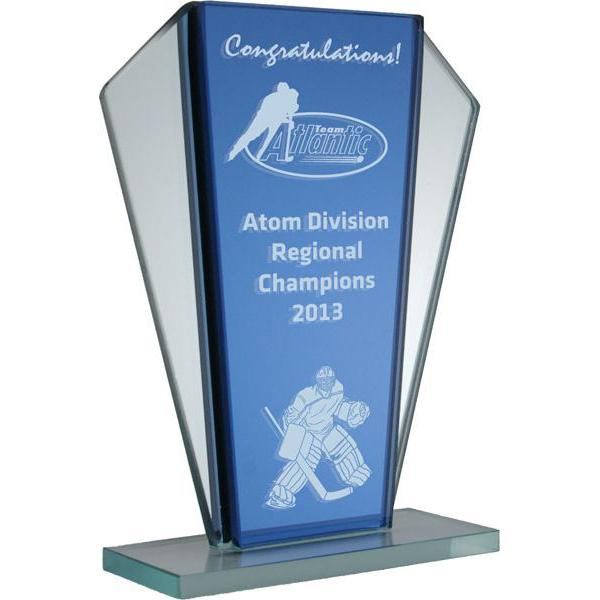 Amherst Blue Mirror Glass Award-D&G Trophies Inc.-D and G Trophies Inc.