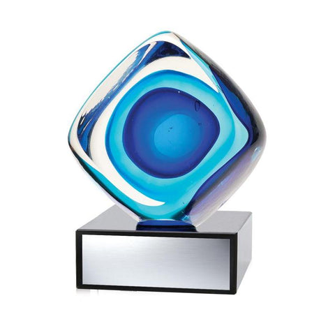 Art Glass Cube Blue-D&G Trophies Inc.-D and G Trophies Inc.