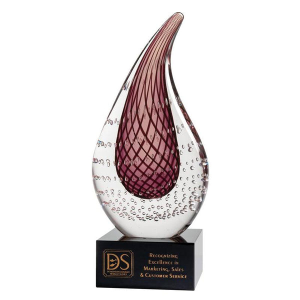 "Art Glass, Mauve Teardrop 8""-D&G Trophies Inc.-D and G Trophies Inc."