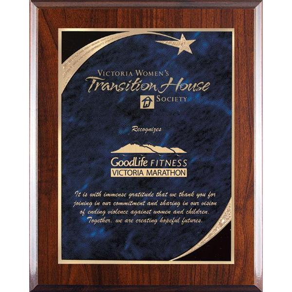 Blue Shooting Star Marble Mist High Gloss Plaque-D&G Trophies Inc.-D and G Trophies Inc.