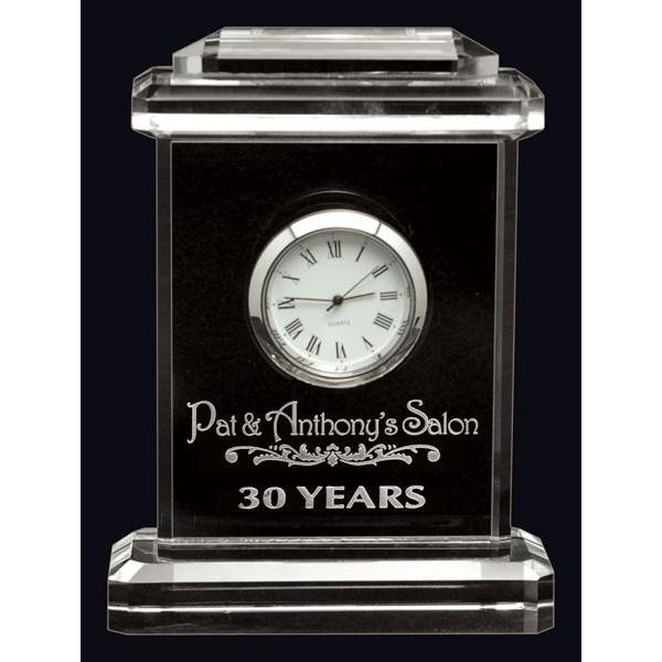 Carriage Clock Optic Crystal Clock-D&G Trophies Inc.-D and G Trophies Inc.