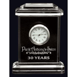 carriage clock optic crystal-D&G Trophies Inc.-D and G Trophies Inc.