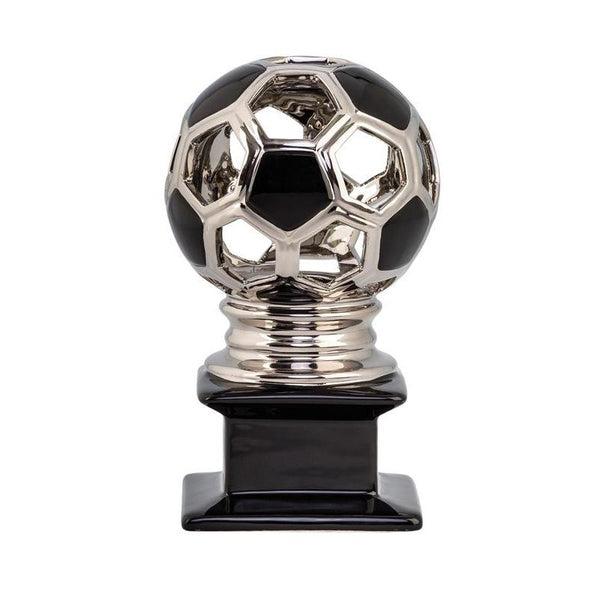 Ceramic Hollow Soccer Ball, Silver/Black-D&G Trophies Inc.-D and G Trophies Inc.