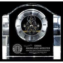 chello clock optic crystal-D&G Trophies Inc.-D and G Trophies Inc.