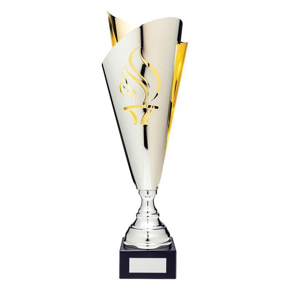 "Classic Cup Torch, Silver/Gold 17.5""-D&G Trophies Inc.-D and G Trophies Inc."