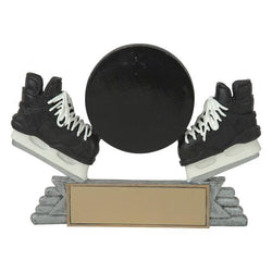 classic puck & skates hockey resin trophy-D&G Trophies Inc.-D and G Trophies Inc.