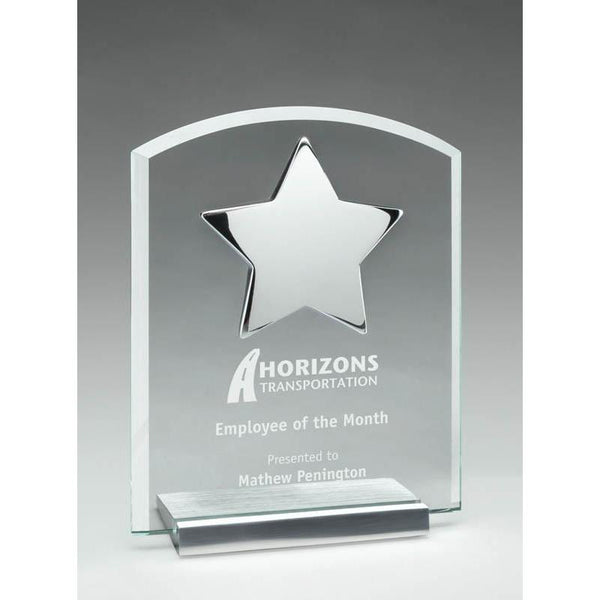 Clear Glass Plaque w Polished Chrome Star on Brushed Silver Base-D&G Trophies Inc.-D and G Trophies Inc.