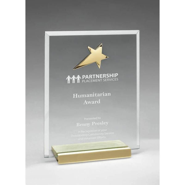 "Clear Glass Plaque w Polished Gold Star on Brushed Brass Base, 6""-D&G Trophies Inc.-D and G Trophies Inc."