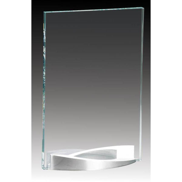 Clear Glass Plate on Curved Brushed Aluminum Base-D&G Trophies Inc.-D and G Trophies Inc.