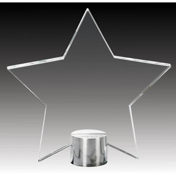 "Clear Glass Star Plate on Round Aluminum Base, 4.75""-D&G Trophies Inc.-D and G Trophies Inc."