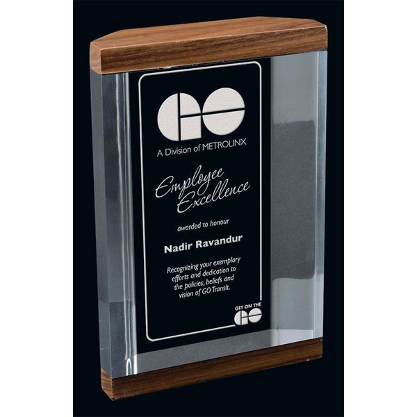 Clear & Solid Walnut Mackinac Acrylic Award-D&G Trophies Inc.-D and G Trophies Inc.