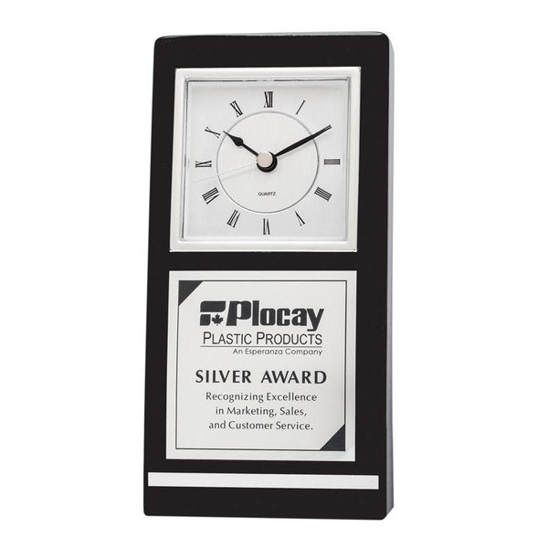 "Clock Black Silver Piano Finish 7""-D&G Trophies Inc.-D and G Trophies Inc."