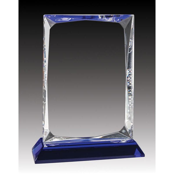 Crystal Angular Block, Blue Base-D&G Trophies Inc.-D and G Trophies Inc.