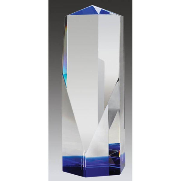 Crystal Angular Tower w Blue Base-D&G Trophies Inc.-D and G Trophies Inc.