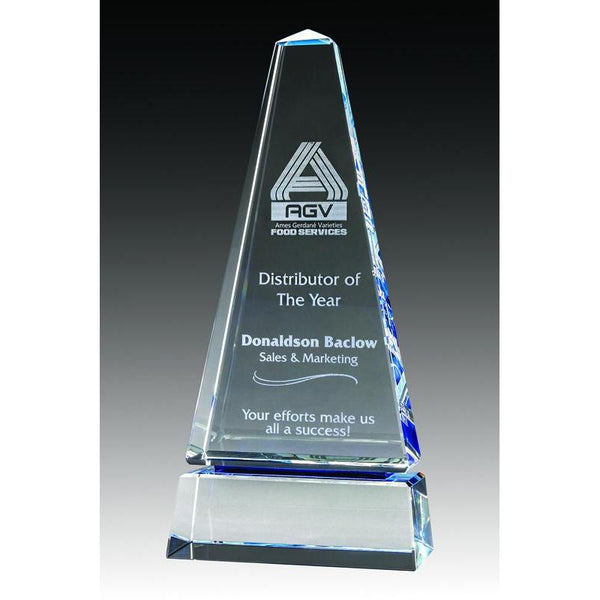 Crystal Obelisk Clear/Blue-D&G Trophies Inc.-D and G Trophies Inc.