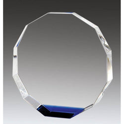 Crystal Octagon, Blue Accent-D&G Trophies Inc.-D and G Trophies Inc.