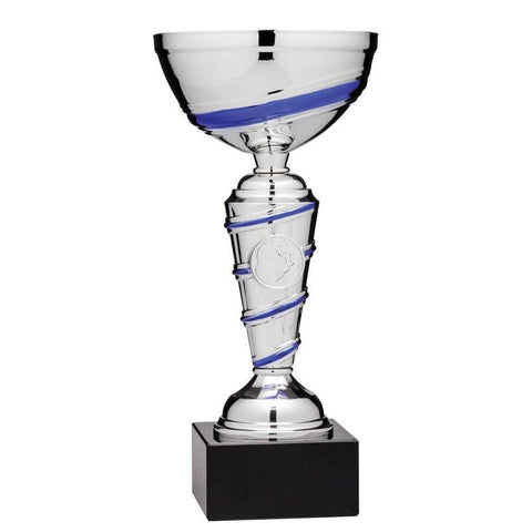 Economy Cup Silver, Blue Swirl 7.75